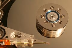 Opened hard disk details. Opened hard disk in details stock photography