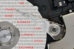 Opened hard disk drive. Close up of opened hard disk drive, data saving concept Royalty Free Stock Image