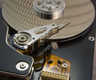 Opened hard disk drive. Close-up of the opened hard disk drive Royalty Free Stock Images