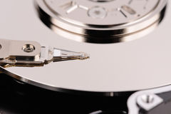 Opened hard disk drive. Close-up macro view Stock Images
