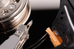 Opened hard disk drive. Close-up macro view Royalty Free Stock Photography