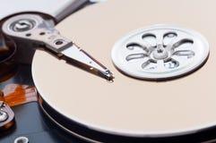 Opened hard disk drive. Closeup Stock Photo