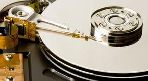 Opened hard disk drive. Closeup Stock Photos