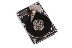 Opened hard disk drive isolated on white Stock Photo