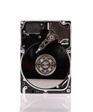 Opened hard disk drive isolated on white Stock Photos