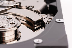 Opened hard disk drive isolated on white Royalty Free Stock Photography