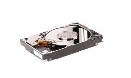 Opened hard disk drive isolated on white. Background Stock Photography