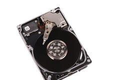 Opened hard disk drive. Isolated on white background Stock Image