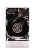 Opened hard disk drive isolated on white. Open hard disk drive isolated on white background Royalty Free Stock Image