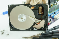 Opened Hard Disk Drive for recovery data storage. Opened Hard Disk Drive ready to check and recovery data storage Royalty Free Stock Photography