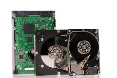 Opened hard disk drives Stock Photos