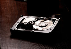 Opened hard disk after the fire Stock Photos