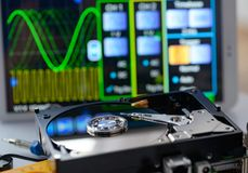 Opened hard disk in service laboratory. Data recovery concept Royalty Free Stock Photography