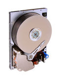 Opened Hard drive. An opened hard disk drive with 9 platters isolated on a white background.  Image is is shot angle left. Rare to see this many platters in a Royalty Free Stock Image