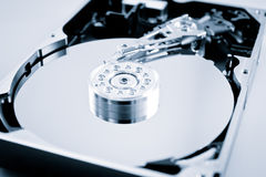 Opened hard drive, color processed Stock Image