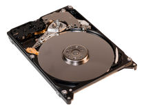 Opened hard drive with internals detail. Isolated royalty free stock photography