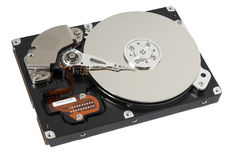 Opened hard drive on white Royalty Free Stock Photo