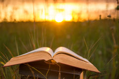 Opened hardback book diary, fanned pages on blurred nature lands. Cape backdrop, lying in summer field on green grass against sunset sky with back light. Copy stock photography
