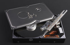 Opened harddisk with thermometer Royalty Free Stock Photo