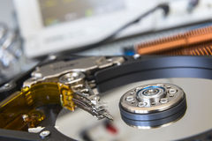 Opened HDD disc drive in the laboratory. For testing PC components Stock Photo