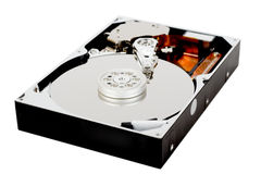Opened hdd isolated on white. Opened hard disc drive isolated on white Stock Image
