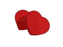 Opened heart-shaped box Stock Photos