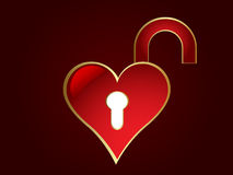 Opened heart shaped lock Stock Photo