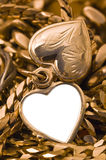 Opened hearth. Opened small golden jewelery hearth, vertical photo stock photography