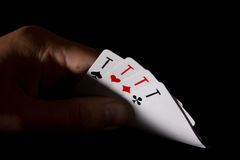 Opened his hand four aces Royalty Free Stock Photography