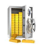 Opened home safe with gold bars inside Stock Photos