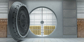 Opened huge bank vault full of gold bars front view Royalty Free Stock Images