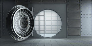 Opened huge empty bank vault front view Royalty Free Stock Images