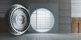 Opened huge empty bank vault front view. 3d rendering of an opened huge empty bank vault front view royalty free illustration