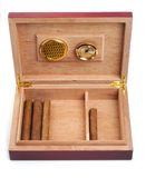 Opened humidor with cigars Royalty Free Stock Photos