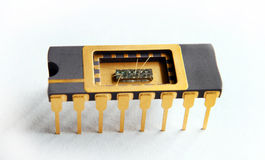 Opened IC With Chip Inside On The White Background Stock Photos