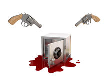 Opened iron safe, two revolvers and bloody stane. Royalty Free Stock Photo