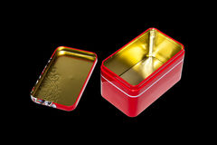 Opened isolated red tea gift tin box Royalty Free Stock Image