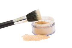 Opened jar with make-up powder and brush isolated Royalty Free Stock Photo