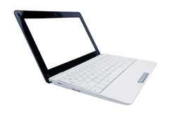 Opened laptop computer white color Stock Photo