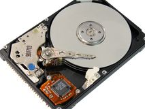 Opened laptop hard disk drive. (isolated on white Royalty Free Stock Images