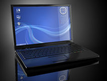 Opened laptop and volume light. 3d Royalty Free Stock Photos