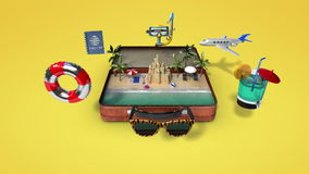 Opened a leather traveling bag, trunk, Prepare to travel for summer vacation, tour stock footage