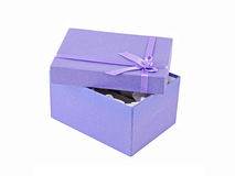 Opened lilac gift box Royalty Free Stock Image