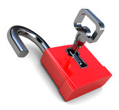 Opened lock. 3d illustration of opened lock with key, over white background Stock Photography