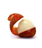 Opened lychee. On white background Royalty Free Stock Photography