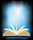 Opened magic book with magic light.. Illustration Stock Photography