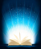 Opened magic book with magic light. Vector Royalty Free Stock Images