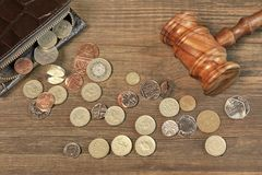 Opened Male Wallet, British  Coins And Judges Gavel On Wood Royalty Free Stock Image