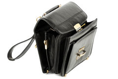 Free Opened Mans Black Leather Bag Royalty Free Stock Photos - 22806758