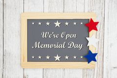 Opened Memorial  Day chalkboard sign royalty free stock photo